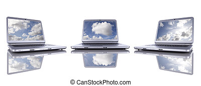 Cloud Computing - Cloud computing concept in three modern...