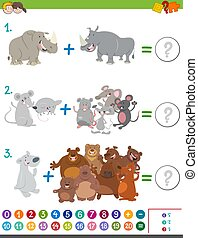 addition maths game with animals - Cartoon Illustration of...