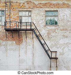 metal staircase attached to the wall