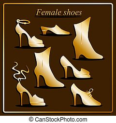 Different types of women shoes. - Different types of women...