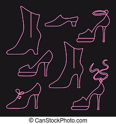 Different types of women shoes on black background. Vector...