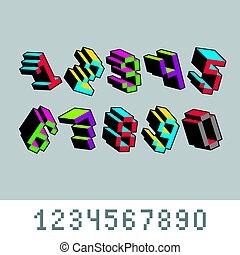 Vector digits, numerals created in 8 bit style. Pixel art...