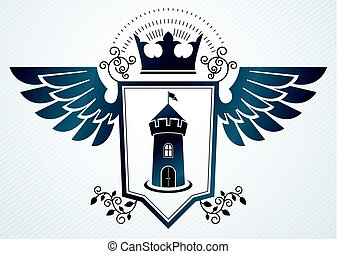 Heraldic vintage vector design element. Retro style label created using medieval fortress and imperial crown