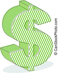 Dollar sign vector illustration isolated on white background.