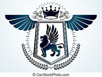 Heraldic vintage vector design element. Retro style label created using lion with wings and monarch crown