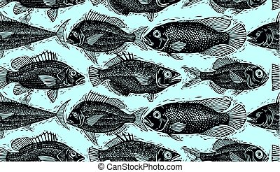 Vector seamless pattern with fishes, different species....
