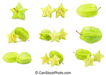 Set of carom - Collage of carambola on a white background