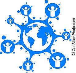 World and Person creative logo, unique vector symbol created...