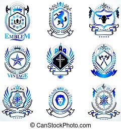 Vintage decorative heraldic vector emblems composed with elements like eagle wings, religious crosses, armory and medieval castles, animals.