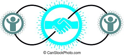 Successful Business creative logo, handshake agreement sign,...