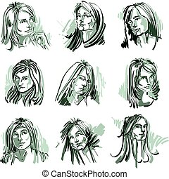 Attractive ladies vector portraits collection, silhouettes...