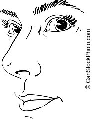 Vector drawing of pensive woman thinking about something. Black and white portrait of attractive still lady, visage features.