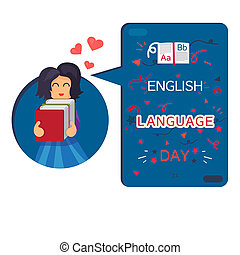English Language Day Banner With Reading Girl, Book and...
