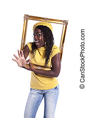 young woman inside a picture frame