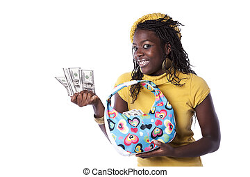 The love for money - young african woman showing money from...