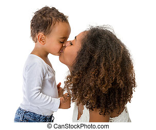 African mother kissing toddler