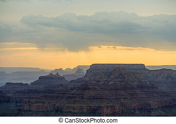 Sunset at Grand Canyon seen from Desert view point, South...