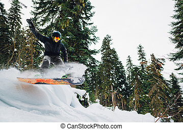 snowboarder is jumping in the mountain forest - snowboarder...