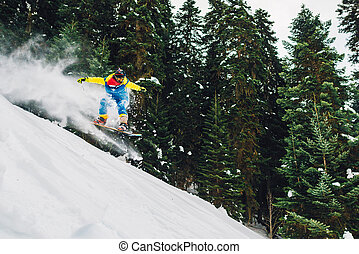 snowboarder with special equipment is riding and jumping...