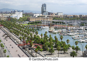 Old Sea Port in the Barcelona - country Spain Mediterranean...