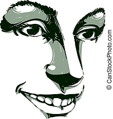 Vector art drawing, portrait of gorgeous happy smiling girl...