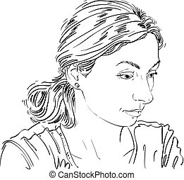 Monochrome vector hand-drawn image, sad or depressed young...
