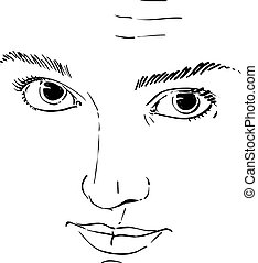 Vector art drawing, portrait of gorgeous girl with wrinkles...