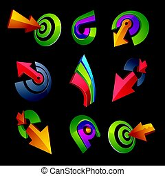 3d vector abstract shapes, different business icons and...