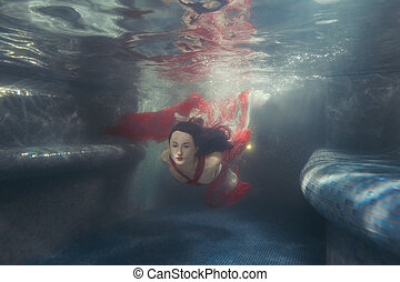 Woman's dress develops under the water. - Woman's dress...