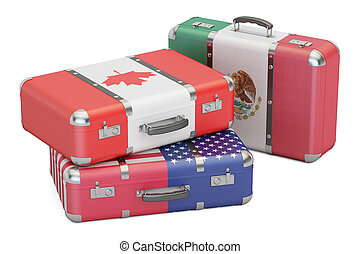Travel concept, suitcases with flags of USA, Canada and Mexico. 3D rendering
