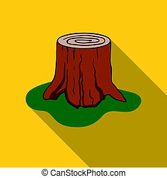 Tree stump icon in flat style isolated on white background....