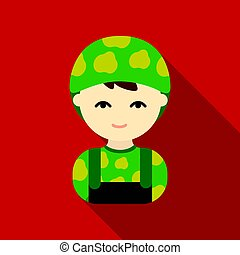 Soldier flat icon. Illustration for web and mobile design. -...