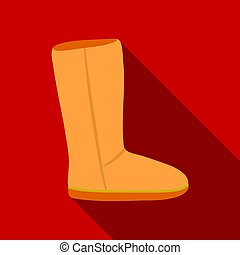 Ugg boots icon in flat style isolated on white background....