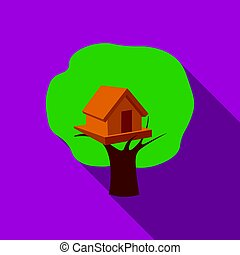 Tree house icon in flat style isolated on white background....