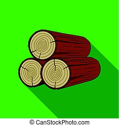 Stack of logs icon in flat style isolated on white...