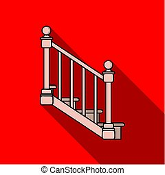 Stairs icon in flat style isolated on white background....