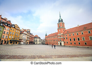 City center of Warsaw with the royal castle, Poland - City...