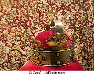 Original, old gold-plated crown of important catholic rulers