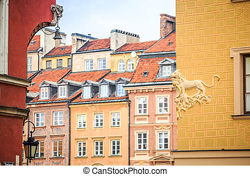 Beautiful colorful tenements in the city center of Warsaw,...