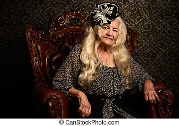 old noble woman - Fashionable old woman with beautiful...