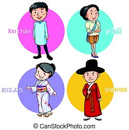 People from different countries greeting illustration