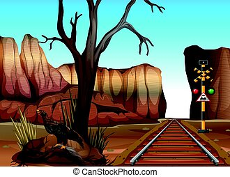 Train track through the canyons illustration