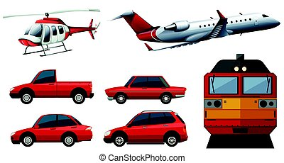 Different designs of transportations illustration