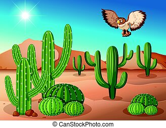 Owl flying over cactus in desert