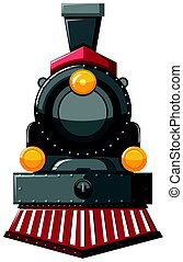Steam engine in gray color illustration