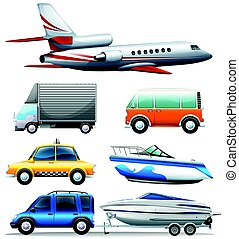 Different transportations on white background illustration