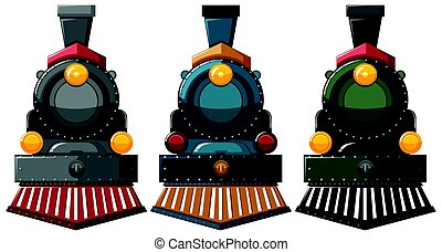 Steam engine designs in three colors illustration