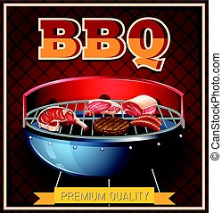 BBQ beef on grill illustration