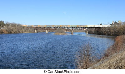 Timelapse of Railway bridge over the Grand River in Cambridge, Ontario