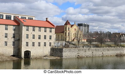 Old Mill by the Grand River in Cambridge, Ontario - An Old...
